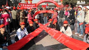 File photo: Aids activists in Henan province 