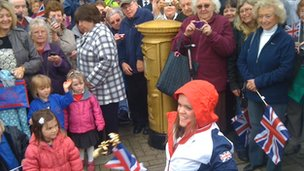 Ellie Simmonds and her gold postbox on Aldridge High Street