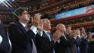 William Hague and Michael Gove applauding