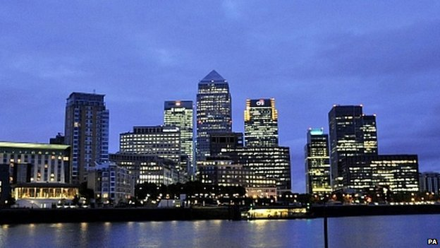 London financial district skyline at dawn