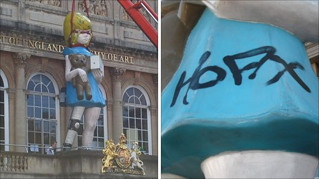 The statue being installed alongside an image of the graffiti on the statue