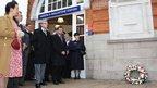 A wreath was laid outside Harrow and Wealdstone station