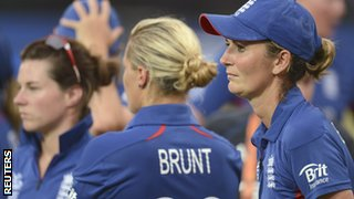 England's Katherine Brunt and Charlotte Edwards