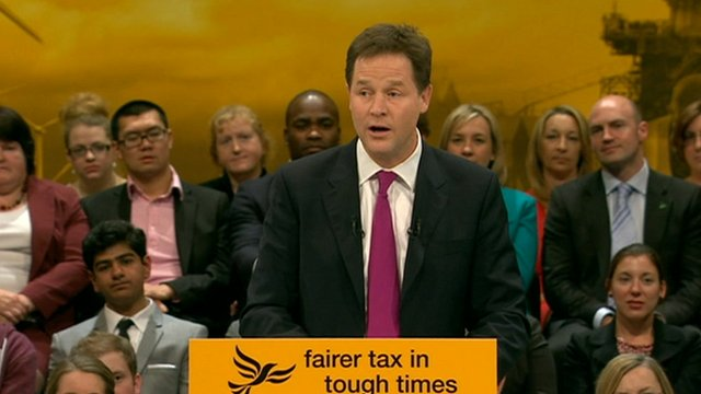Deputy Prime Minister Nick Clegg joked that the Tories needed the Lib Dems' support to keep their pledge on environmental issues.