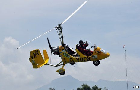 Norman Surplus in his Gyrocopter