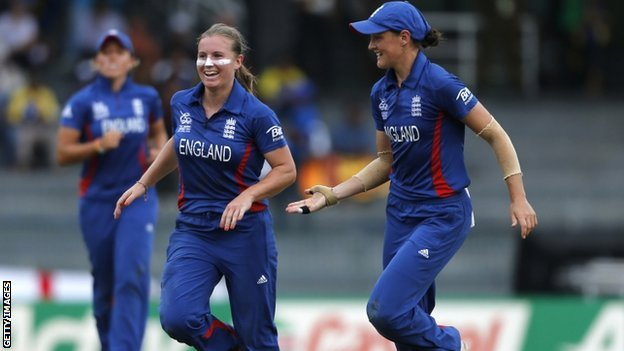 England&#039;s Holly Colvin celebrates a wicket