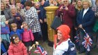 Ellie Simmonds and supporters at her gold postbox on Aldridge High Street