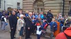 Ellie Simmonds and school children outside Walsall town hall