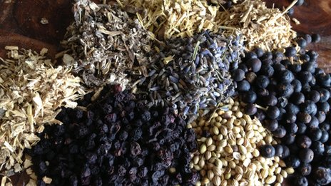 Botanicals including coriander seeds, juniper, bilberries, lavender, angelica root and liquorice root