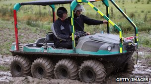 An all-terrain vehicle being used in the search on Monday