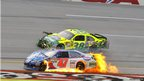 Bobby Labonte and David Gilliland wreck during the NASCAR Sprint Cup Series auto race at Talladega Superspeedway, Alabama