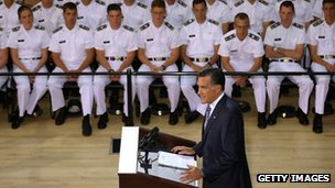 Mitt Romney delivers a foreign policy speech at the Virginia Military Institute in Lexington, Virginia on 8 October 2012