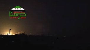 Screengrab of video posted online purportedly showing explosion in Harasta (8 October 2012)