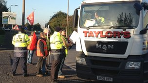 Striking lorry drivers in Doncaster