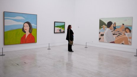 A visitor looks at the Alex Katz exhibition at the Turner Contemporary in Margate