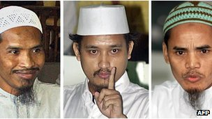 File photo, from left: Convicted Bali bombers Ali Ghufron, Imam Samudra and Amrozi in 2003