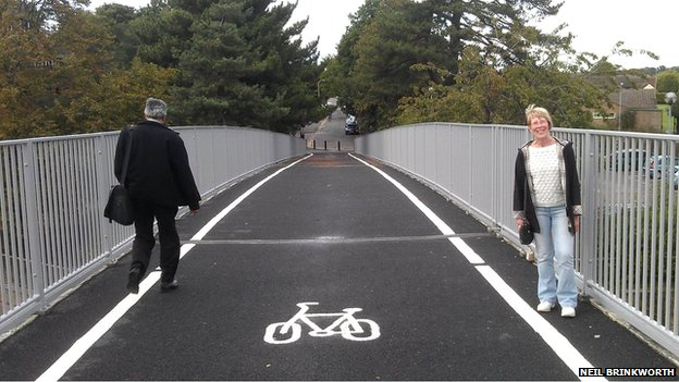 Cycle lane over Fairlands Way in Stevenage