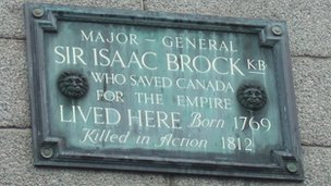 Plaque dedicated to Sir Isaac Brock above Boots in Guernsey