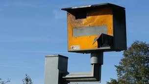 Speed camera which had suffered fire damage