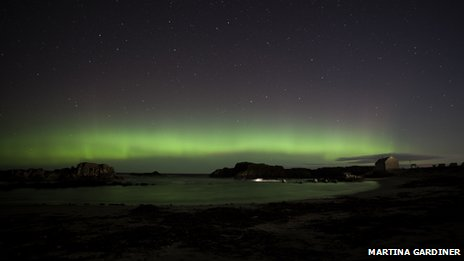 Aurora over harbour