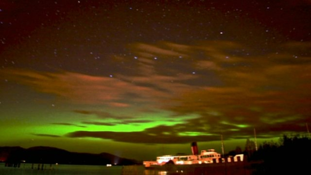 Northern Lights seen from shore of Loch Lomond