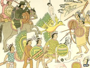 Spanish captain Nuno Beltran de Guzman with his native Tlaxcalan allies at the Battle of Michuacan (1530)