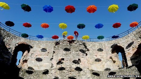 Umbrellas over Clifford's Tower