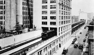 Train running on High Line track in 1934