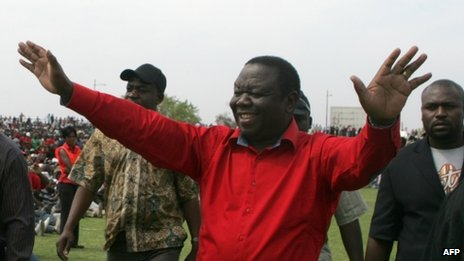 Morgan Tsvangirai at a rally in Oct 2012