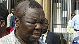 Morgan Tsvangirai after being beaten in 2007