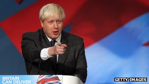 Mayor of London Boris Johnson speaks at the Conservative party conference