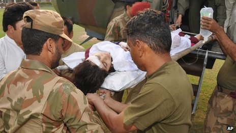 Malala Yousufzai being transported to a military hospital in Peshawar
