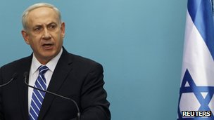 Israel&#039;s Prime Minister Benjamin Netanyahu speaks during a news conference in Jerusalem (9 Oct)