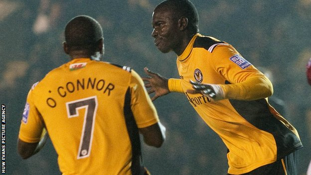 Ismail Yakubu celebrates after scoring for Newport