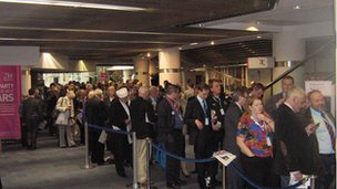 Queue for David Cameron's speech