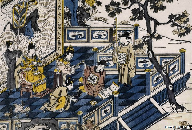 Tang Emperor Minghuang watches Li Bai compose his poems in this 17th Century woodcut (Copyright British Museum)