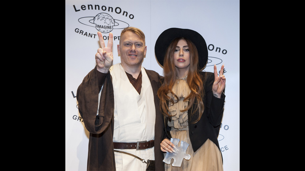 Lady Gaga and Reykjavik mayor Jon Gnarr