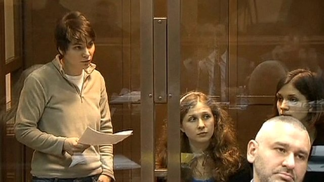 Pussy Riot's Yekaterina Samutsevich in the dock