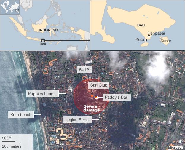 Bali bombings map