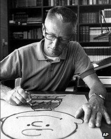 Charles M Schulz at work