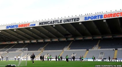 stand at Newcastle United's ground with the logo 'sports direct.com'