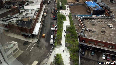 The newly opened High Line in 2009