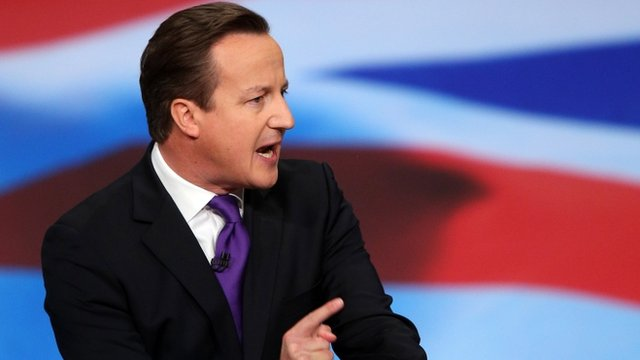 Prime Minister David Cameron urges the Conservatives to stick together to help rebuild Britain.