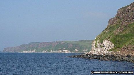 Image of shoreline off ballycastle to rathlin