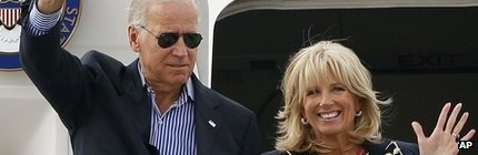 Joe Biden and his wife Jill arrive in Charlotte, for the Democratic Party Convention