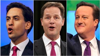 Ed Miliband, Nick Clegg, David Cameron