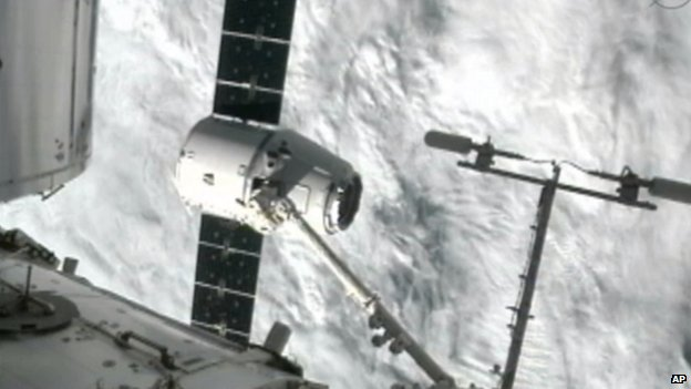 SpaceX Dragon being captured by robotic arm