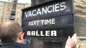 The vacancy board outside Edward Hill and Company in Bradford