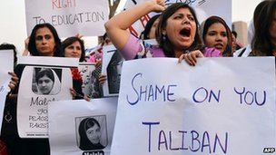 Pakistani activists at a protest rally after the shooting of Malala Yousafzai