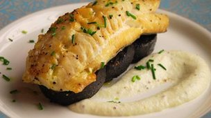 Oven-roasted smoked haddock with black pudding
